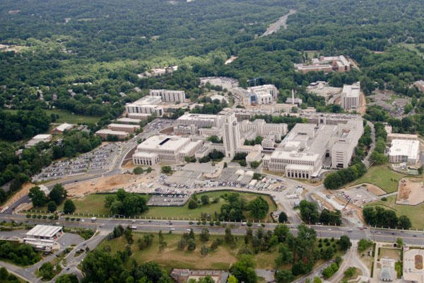 The Walter Reed National Military Medical Center, seen from the air, with Wisconsin Avenue in front, shows the original tower that Franklin Delano Roosevelt designed. (U.S. Army photo)