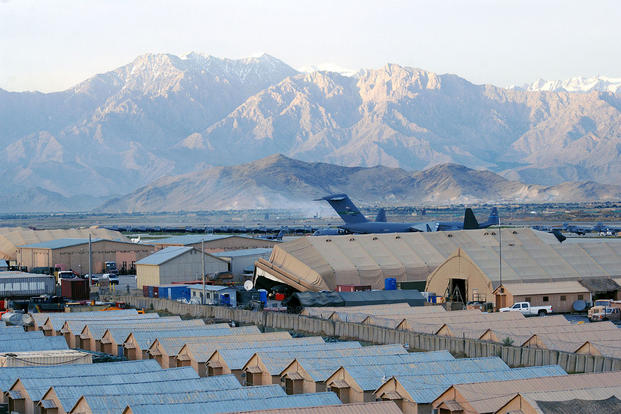 A view of Bagram Airfield, Afghanistan from the Air Traffic Control Tower's catwalk after a recent rainstorm. (U.S. Air Force photo by Staff Sgt. Craig Seals)
