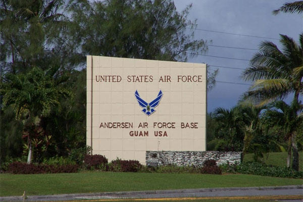 Andersen Air Force Base, Guam is located on the north end of Guam, approximately 15 miles from the capital, Agana (Source: militaryinstallations.dod.mil)