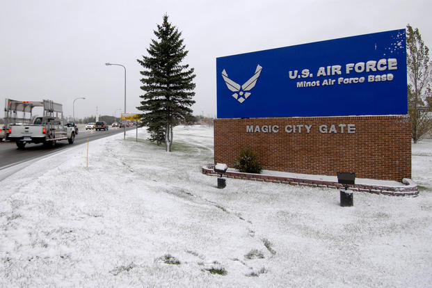 Minot Air Force Base main gate (U.S. Air Force photo)