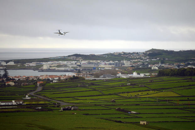 A commercial aircraft lands at Lajes Field, Azores, Feb. 7, 2016. (U.S. Air Force photo/Tech. Sgt. Kristopher Levasseur)