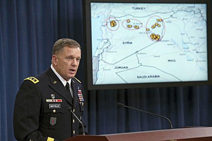 Army Lt. Gen. William Mayville, Jr., Director of Operations J3, speaks about the operations in Syria during a news conference at the Pentagon on Sept. 23, 2014. Cliff Owen/AP