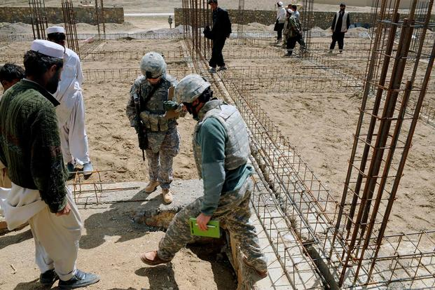 FILE -- Maj. Kimberly Riggs talks with her interpreter and local contractors about construction work for the Osman Khel School April 13, 2009 in Gardez City, Afghanistan. (U.S. Air Force photo/Staff Sgt. Shawn Weismiller)