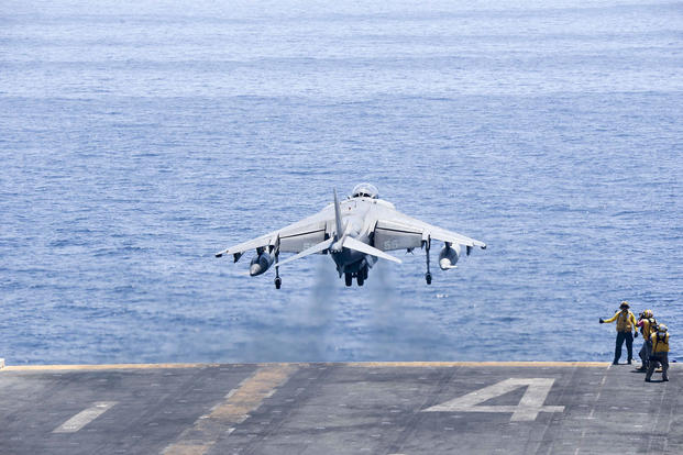 An AV-8B Harrier II with the 13th Marine Expeditionary Unit launches from the amphibious assault ship USS Boxer in the Arabian Gulf on June 16, 2016, in support of Operation Inherent Resolve. Mass Communication Specialist 3rd Class Brett Anderson/Navy