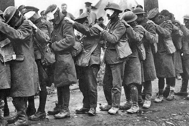British soldiers blinded by gas at the Battle of Estaires. Photo courtesy of Joseph V. Micallef