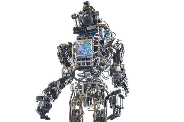 ATLAS is a hydraulically powered robot in the form of an adult human. It is capable of a variety of natural movements, including dynamic walking, calisthenics and user-programmed behavior. (DARPA)