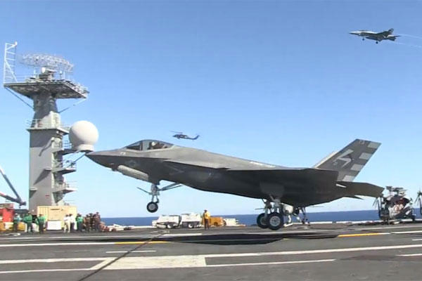 Screenshot of the F-35C's first landing aboard the USS Nimitz aircraft carrier. (Navy video)