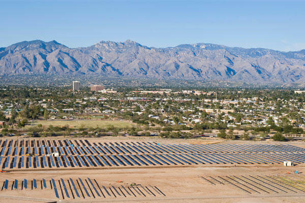 The Davis-Monthan solar array project, on 170 acres of underutilized land, makes it the largest of its kind on any Defnese Department installation. (U.S. Air Force photo/1st Lt. Sarah Ruckriegle)