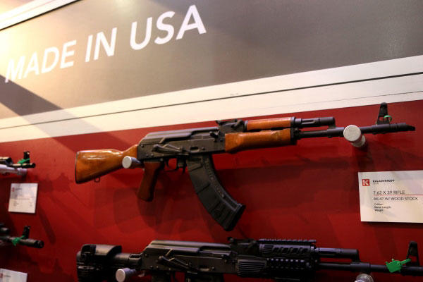 A U.S. firm displayed famous AK-47 Kalashnikov rifles it plans to manufacture in the U.S. at the 2015 Shot Show. (Military.com/Matt Cox)