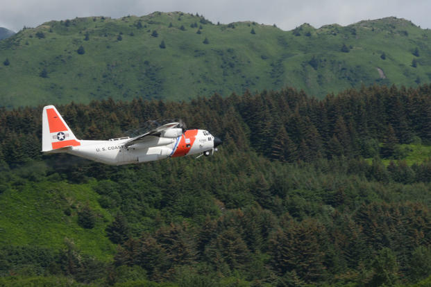 An Air Station Kodiak C-130 Hercules aircrew takes off from Kodiak, Alaska, Airport to deliver helicopter parts to a forward operating location located in Deadhorse, Alaska, July 1, 2015. (U.S. Coast Guard photo by Petty Officer 1st Class Kelly Parker)