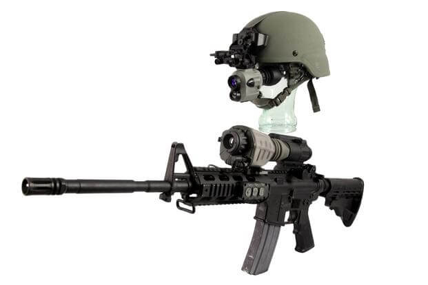 These prototypes of the new Family of Weapon Sights-Individual, mounted on the M4 carbine and the helmet-mounted Enhanced Night Vision Goggle III are designed to work together wirelessly. (Source: US Army)