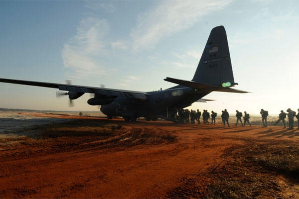 A U.S. Air Force C-130 Hercules from the 2nd Airlift Squadron, 440th Airlift Wing, parks at a drop zone at Fort Bragg, N.C., on Dec. 6, 2008.  (DeNoris A. Mickle/U.S. Air Force photo)