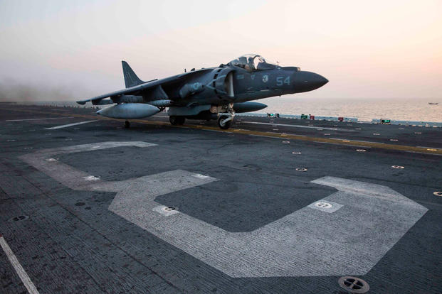 An AV-8B Harrier assigned to Marine Medium Tiltrotor Squadron (VMM) 162 (Reinforced), 26th Marine Expeditionary Unit, launches from the amphibious assault ship USS Kearsarge. Photo by Mass Communication Specialist Seaman Apprentice Ryre Arciaga
