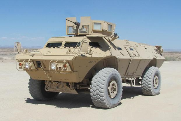 Mobile Strike Force Vehicle Armored Personnel Carrier with Gunner's Protective Kit. The MSFV is a modified and updated version of a Textron Marine and Land Systems vehicle platform design. (U.S. Army photo)