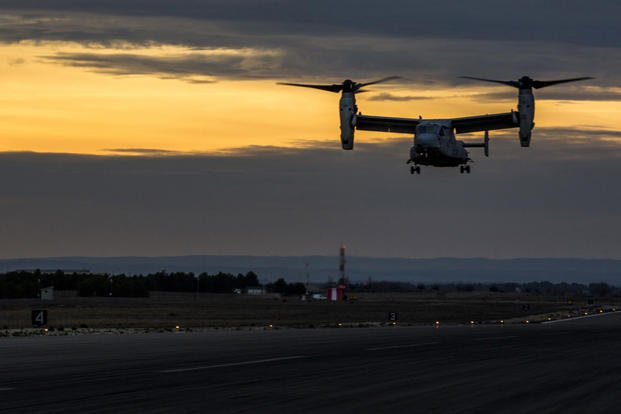 An MV-22B Osprey with Special-Purpose Marine Air-Ground Task Force Crisis Response-Africa lands aboard Los Llanos Air Base, Spain, Dec. 7, 2015. Photo: Staff Sgt. Vitaliy Rusavskiy