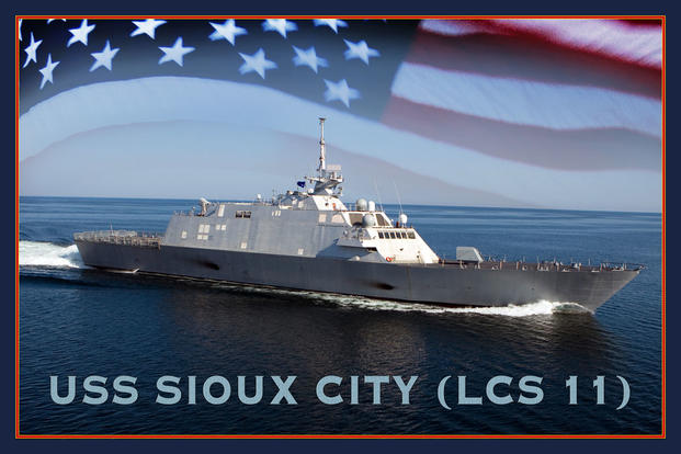 An artist rendering of the littoral combat ship USS Sioux City (LCS11). (U.S. Navy photo illustration by Stan Bailey/Released)