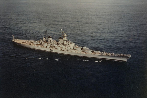 USS Wisconsin (BB-64) Operating off Korea, circa January-April 1952. (Official U.S. Navy Photograph, now in the collections of the National Archives.)