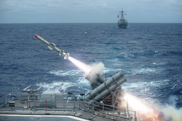 A Harpoon missile is launched from the Ticonderoga-class guided-missile cruiser USS Shiloh (CG 67) Sept. 15, 2014, during a training exercise in the Pacific Ocean. (Photo by Kevin V. Cunningham/US Navy)