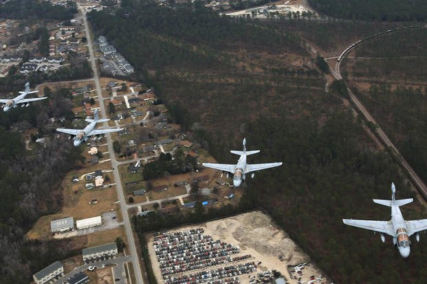 "EA-6B Prowlers belonging to each Prowler squadron aboard Marine Corps Air Station Cherry Point conducted a ""Final Four"" division flight aboard the air station March 1, 2016. (Photo: Cpl. Neysa Huertas Quinones)"