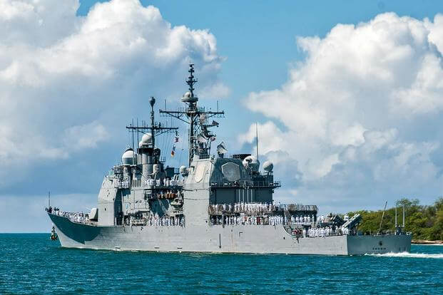 USS Chosin (CG 65) departs Joint Base Pearl Harbor-Hickam in April for its current deployment. (U.S. Navy/MC3 Dustin W. Sisco)