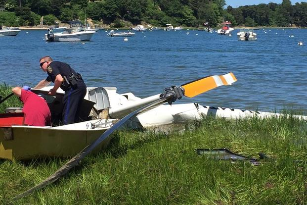 A small helicopter crashed in Chatham, Mass. on Cape Cod. (Chatham Police Dept. photo)