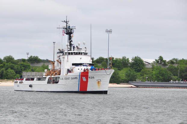 The Coast Guard Cutter Dependable transits toward the pier at Joint Expeditionary Base Little Creek, Fort Story in Virginia Beach, Virginia, May 18, 2016. (U.S. Coast Guard photo by Petty Officer 1st Class Melissa Leake)