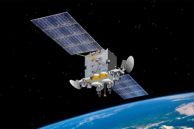 An artist's rendering of Advanced Extremely High Frequency satellite. AEHF-1 launched Aug. 14, 2010 and reached its operational geosynchronous earth orbit Oct. 24, 2011. (Courtesy photo Space and Missile Systems Center)
