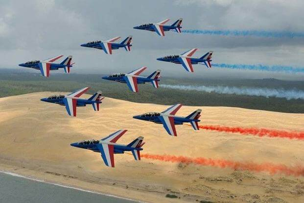 The Patrouille de France flight acrobatics team are performing in the United States as part of their first tour of America in more than 30 years, to celebrate the centennial of the U.S.'s entry into the war.  (PATROUILLE DE FRANCE)