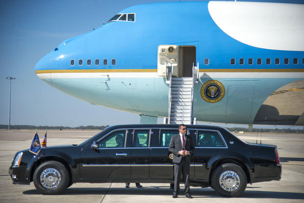 President Donald J. Trump's motorcade pulls away from Air Force One on the flight line of MacDill Air Force Base, Fla., Feb. 6, 2017. (U.S. Air Force photo/Staff Sgt. Ned T. Johnston)
