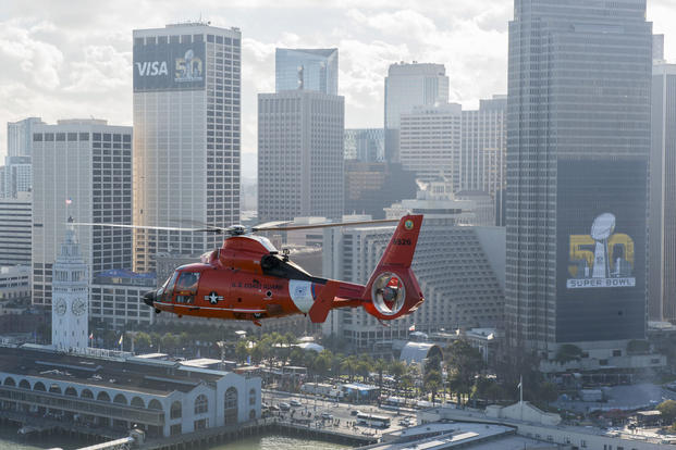 A Coast Guard San Francisco helicopter crew flies near Super Bowl city in San Francisco Feb. 5, 2016. (Coast Guard photo/Petty Officer 3rd Class Adam Stanton)