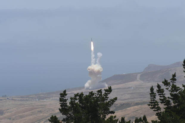 A long-range ground-based interceptor is launched from Vandenberg Air Force Base and successfully intercepted an intercontinental ballistic missile target launched from the U.S. Army's Reagan Test Site on Kwajalein Atoll. (U.S. Defense Department photo)