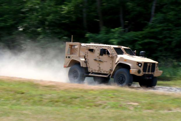 The Army and Marine Corps showed off its new Joint Light Tactical Vehicle at a test track at Marine Corps Base Quantico, Virginia, on June 14, 2017. (Photos by Matthew Cox/Military.com)