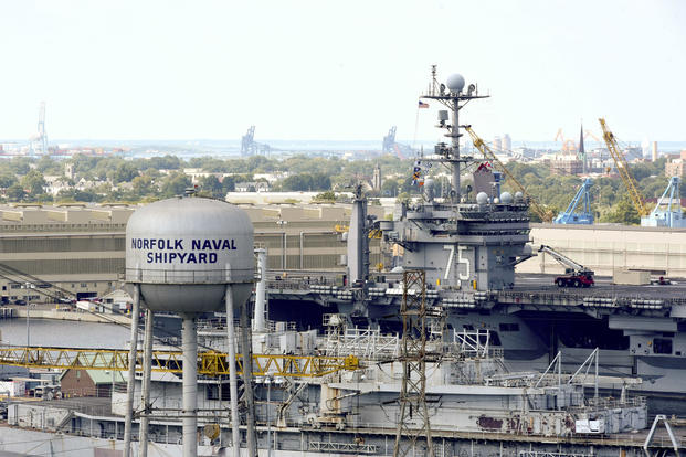 Aircraft carrier USS Harry S. Truman transits the Elizabeth River from its homeport at Naval Station Norfolk to Norfolk Naval Shipyard. (U.S. Navy photo/Mass Communication Specialist Seaman Victoria Granado)