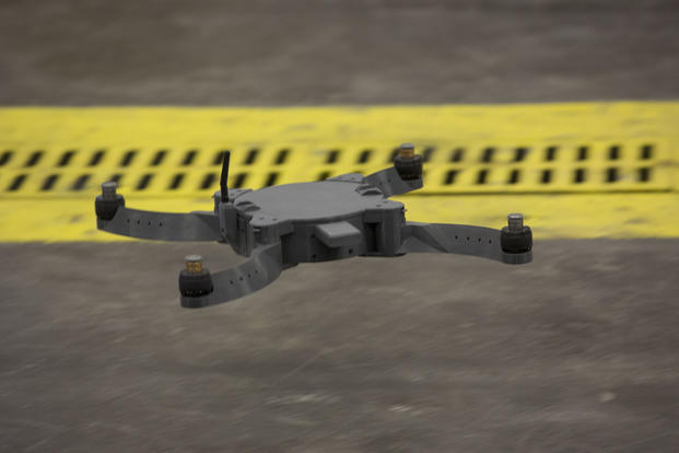 The Nibbler drone is flown by U.S. Marines and civilian contractors with II Marine Expeditionary Force (II MEF) inside of the 2nd Maintenance Battalion warehouse on Camp Lejeune, N.C., May 18, 2017. (U.S. Marine Corps photo/Lance Cpl. Taylor N. Cooper)