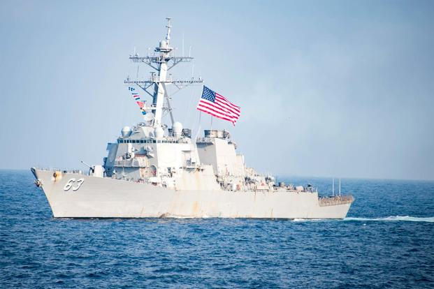 The Arleigh Burke-class guided-missile destroyer USS Stethem (DDG 63) transits waters east of the Korean peninsula during Operation Foal Eagle. (U.S. Navy/Mass Communication Specialist 3rd Class Kurtis A. Hatcher)