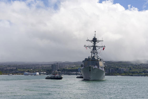 The guided-missile destroyer USS Chafee (DDG 90) departs Joint Base Pearl Harbor-Hickam for an independent deployment to the Western Pacific and South America, June 13, 2017. (U.S. Navy photo/Mass Communication Specialist 2nd Class Katarzyna Kobiljak)