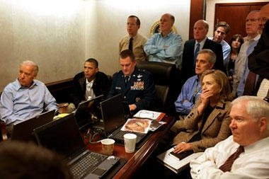 President Barack Obama and Vice President Joe Biden, along with with members of the national security team, receive an update on the mission against Osama bin Laden in the Situation Room of the White House, Sunday, May 1, 2011