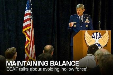 "The Air Force chief of staff reinforced the importance of avoiding a ""hollow force"" to a group of civic and industry leaders."