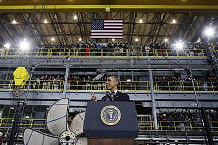 President Barack Obama speaks at Newport News Shipbuilding Tuesday, Feb. 26, 2013, as part of his public campaign to sway Congress to block automatic spending cuts that are scheduled to begin on March 1, in defense and domestic programs.