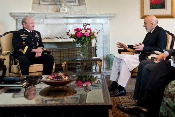 General Martin E. Dempsey meets with President of Afghanistan Hamid Karzai in Kabul. DOD photo by D. Myles Cullen.