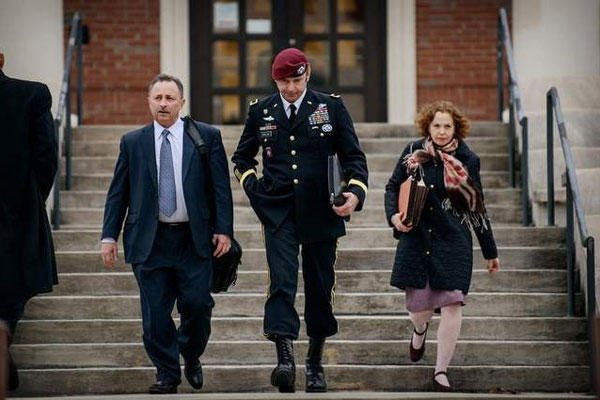 In this March 4, 2014 file photo, Brig. Gen. Jeffrey Sinclair leaves the courthouse following a day of motions at Fort Bragg, N.C. (AP Photo/The Fayetteville Observer, James Robinson)