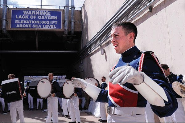 Cadet 1st Class Ford Carty, shown here performing with the Drum and Bugle Corps at the Academy, won a research award for best undergraduate research poster from the American Chemical Society's Division of Polymer Chemistry this month.