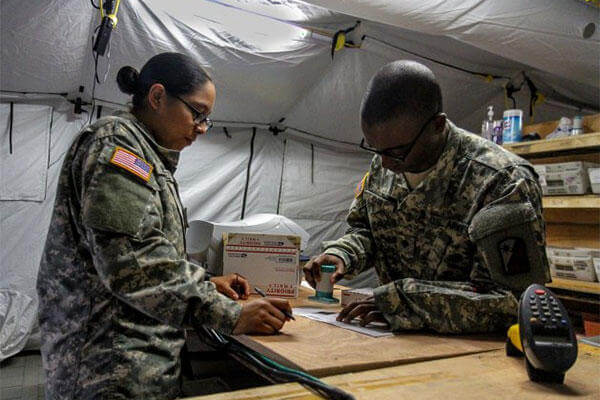 The now fully operational post office at Roberts International Airport, Monrovia, Liberia, was the first fully functional Army post office to open there. (U.S. Army/ Spc. Caitlyn Byrne)
