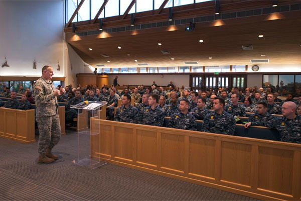 Army Lt. Col. George Corbari leads a suicide awareness and prevention presentation for service members stationed at Joint Base Pearl Harbor-Hickam. (U.S. Navy photo by Mass Communication Specialist 2nd Class Diana Quinlan)