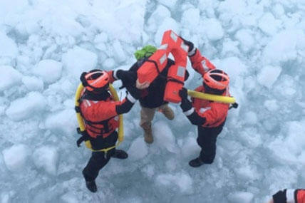 The crew of Coast Guard Cutter Neah Bay, home-ported in Cleveland, rescued a 25-year-old man attempting to walk across Lake St. Clair, March 5, 2015. (U.S. Coast Guard photo by Lt. Josh Zike)