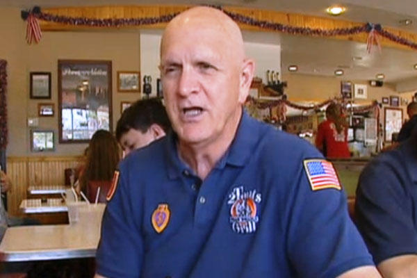 C. Lynn Lowder does an interview for Fox on 1 Vet at a Time at one of the businesses he helped a veteran start. (Fox News)