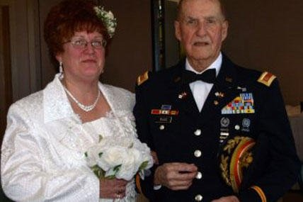 Merry and Virgil Ward are shown at their wedding, Jan. 31, 2009. Enlisting in 1935, Ward, now 96, served in three wars during his 30-year tenure in the military. (U.S. Army photo)