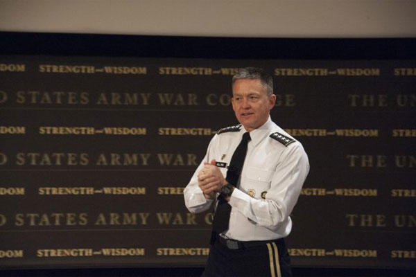 Army Vice Chief of Staff Gen. Daniel Allyn talks about the fundamental Army imperative to win, as he describes the Army Operating Concept during Army Leader Day at the Army War College in Carlisle, Pa., April 7, 2015. (U.S. Army photo)