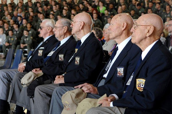 Doolittle Raiders Robert Hite, Tom Griffin, Dave Thatcher and Dick Cole listen during a ceremony honoring the raiders and celebrating the 65th anniversary of the raid at Randolph Air Force Base. (U.S. Air Force/Staff Sgt. Brian Ferguson)
