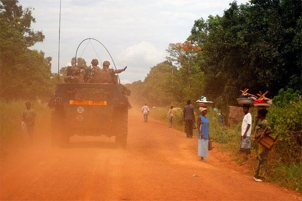 This April 11, 2014 file image shows French forces patrolling in Sibut, some 200kms (140 miles) northeast of Bangui, Central African Republic. (AP Photo/Jerome Delay, File)